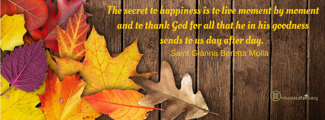 The secret to happiness is to live moment by moment and to thank God for all that he in his goodness sends to us day after day. - St. Gianna Beretta Molla. Facebook cover on embeddedfaith.org