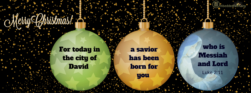 For today in the city of David a savior has been born for you who is Messiah and Lord. Luke 2:11. Christmas facebook cover on embeddedfaith.org