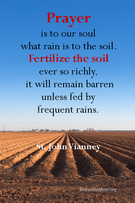 Prayer is to our soul wha rain is to the soil. st. john vianney, saintly sayings