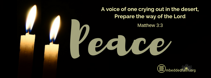 A voice of one crying out in the desert, prepare the way of hte Lord. Matthew 3:3 - Second Sunday in Advent, Cycle A, Facebook Cover on embeddedfaith.org