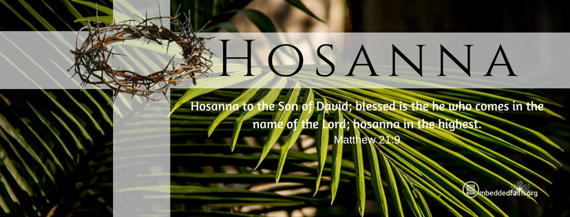 Hosanna to the Son of David; blessed is the he who comes in the name of the Lord; hosanna in the highest. Matthew 21:9. Palm Sunday Facebook Cover on embeddedfaith.org