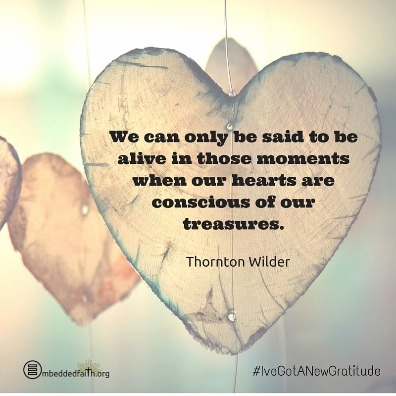 We can only be said to be alive in those moments when our hearts are conscious of our treasures. Thornton Wilder - #IveGotANewGratitude on embeddedfaith.org