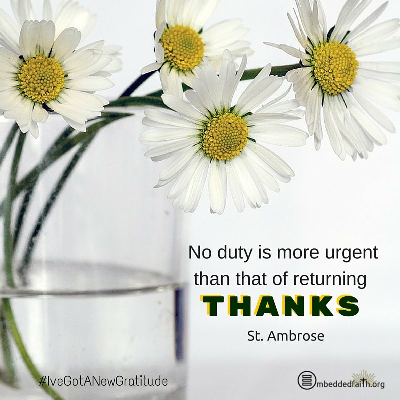 No duty is more urgent than that of returning thanks. St. Ambrose - #IveGotANewGratitde on embeddedfaith.org
