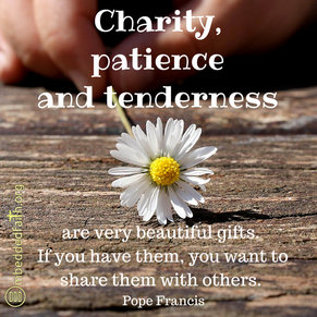Charity, patience and tenderness are very beautiful gifts. If you have them, you want to share them with others. - Pope Francis. First Fridays with Francis on embeddedfaith.org