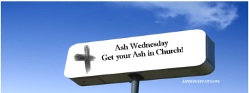 Get your ash in church - facebook cover for Ash Wednesday. embeddedfaith.org