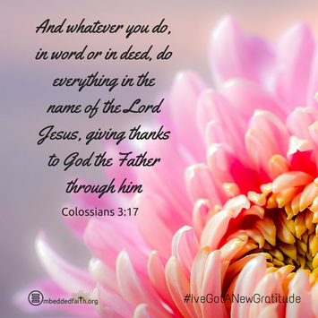 And whatever you do, in word or in deed, do everything in the name of hte Lord Jesus, giving thanks to God the Father through him. Colossians 3:17 - - #IveGotANewGratitude - 13 quotes on gratefulness at embeddedfaith.org