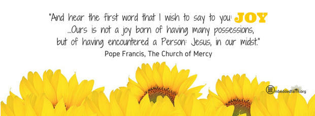 Ours is not a joy born of having many possessions, but of having encountered a person: Jesus in our midst. - Pope Francis Facebook cover on embeddedfaith.org