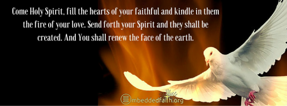 Come holy spirit, fill the hearts of your faithful and kindle in them the fire of your love, facebookcover for Pentecost on embeddedfaith.org