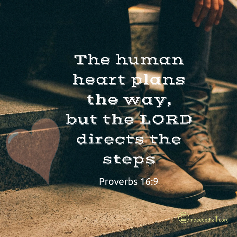 The human heart plans the way, but the Lord directs the steps - Proverbs 16:9