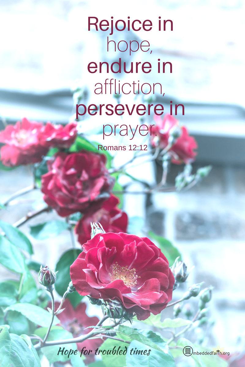 Rejoice in hope, endure in affliction, persevere in prayer. Romans 12:12